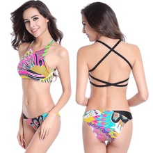 2017 sexy Bikini Red Peacock butterflies Flags wimwear Women Swimwear underwire Swimsuit Bathing Suits Swim Suits