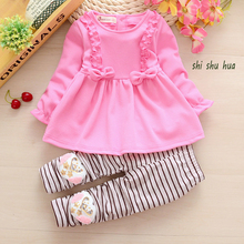 The girls clothes 2016 spring and autumn childrens skirt suit 2-6 year old dress cartoon design new style
