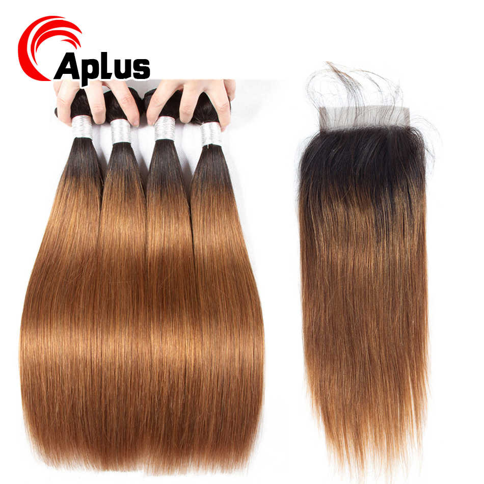 Ombre Brazilian Straight Hair Bundles With Closure Colored Human Hair 1b 30 Blonde Hair Bundles With Closure Non Remy Aplus Hair