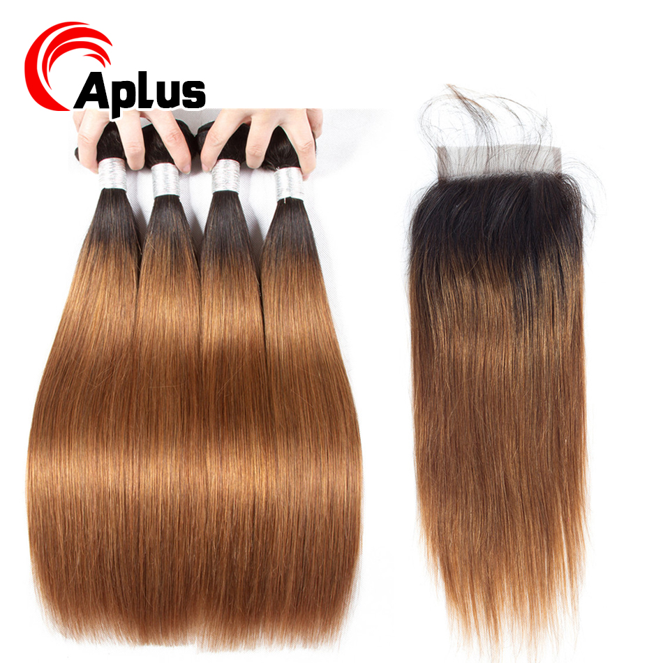 Ombre Brazilian Straight Hair <font><b>Bundles</b></font> <font><b>With</b></font> <font><b>Closure</b></font> Colored Human Hair <font><b>1b</b></font> <font><b>30</b></font> Blonde Hair <font><b>Bundles</b></font> <font><b>With</b></font> <font><b>Closure</b></font> Non Remy Aplus Hair image