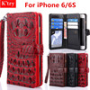 Luxury 3D Crocodile Skin Bag Conque For IPhone 6 6s Luxury Leather Hand Strap Wallet Flip