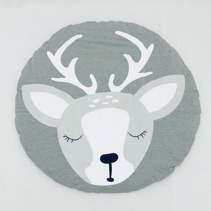 95 см детская игра коврики круглый коврик, мат хлопок Лебедь Ползания одеяло пол ковер для детской комнаты украшения INS подарки для малышей - Цвет: Christmas elk 95cm