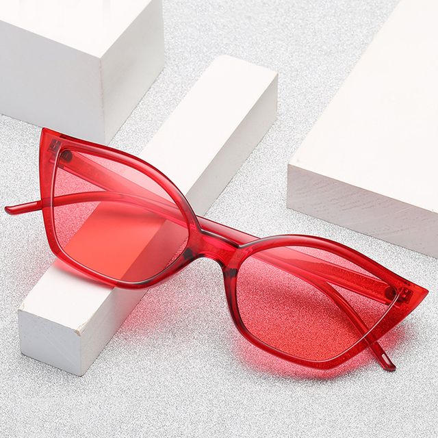 Fashion Brand Designer Cat Eye Sunglasses Small Frame Women Candy Color Clear Mirror Sun Glasses 2018 UV400 Ladies Eyewear