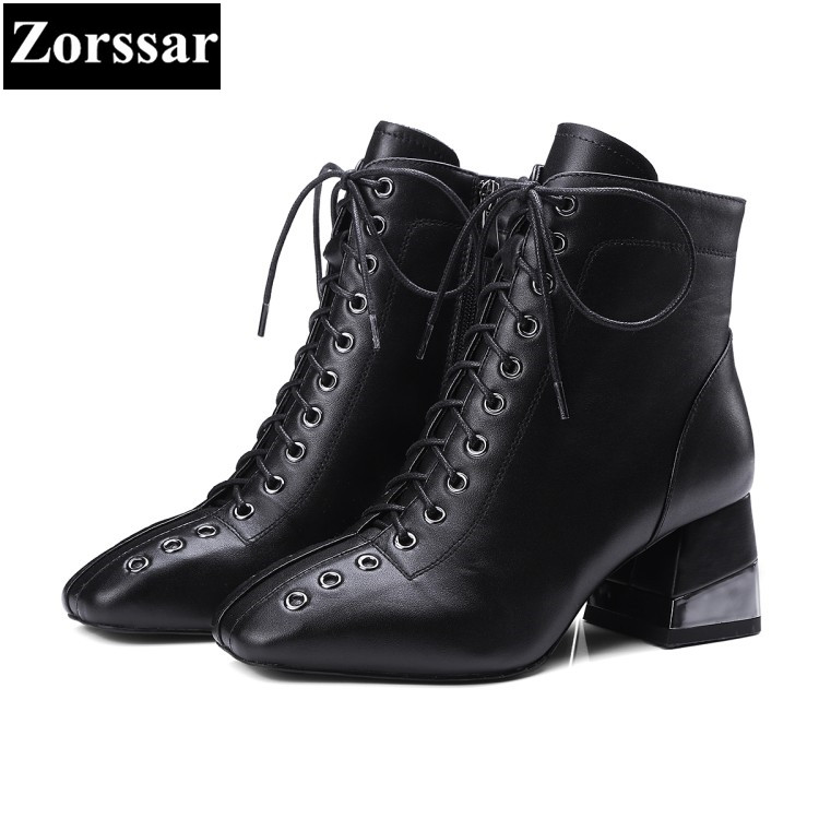 {Zorssar} 2017 NEW large size Female shoes Fashion lace up Square Toe High heels ankle Motorcycle boots winter fur womens boots fonirra new fashion high top casual shoes for men ankle boots pu leather lace up breathable hip hop shoes large size 45 728