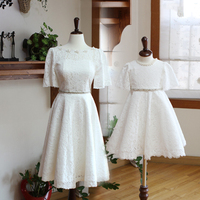 Mom and Daughter Dresses for Wedding Family Look Mom and Daughter Dress Lace White Party Dresses Mommy and Me Matching Clothes