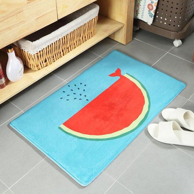 Cartoon Watermelon Whales Design Soft Doormat Non Slip Kitchen Carpet Bath  Home Entrance Kitchen Floor