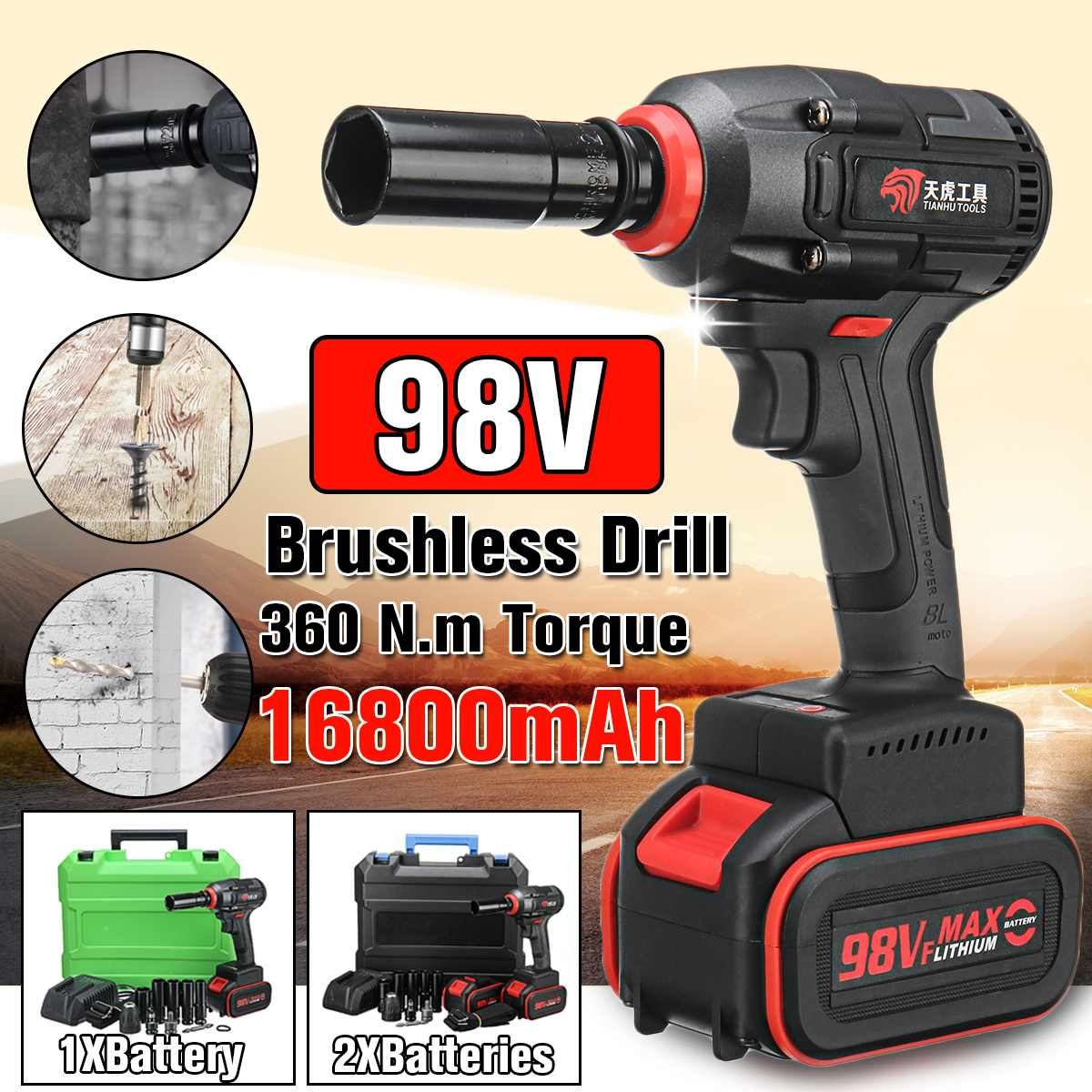 Brushless Electric Wrench Impact Socket Wrench 98V 16800mAh Li Battery Hand Drill Installation Power Tools|Electric Wrenches| |  - title=