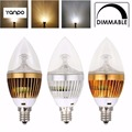 E12 Dimmable 3/6/9W LED Candelabra Bulbs Candle Light Chandelier Bulb Lamp 110V Golden/Silver/Bronze  Warm Neutral Cool White