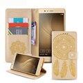 Para huawei p9 lite case flor cubierta de cuero del tirón para el huawei ascend p9 teléfono lite accesorios bolsos para iphone 6 6 s plus 5 5S SÍ