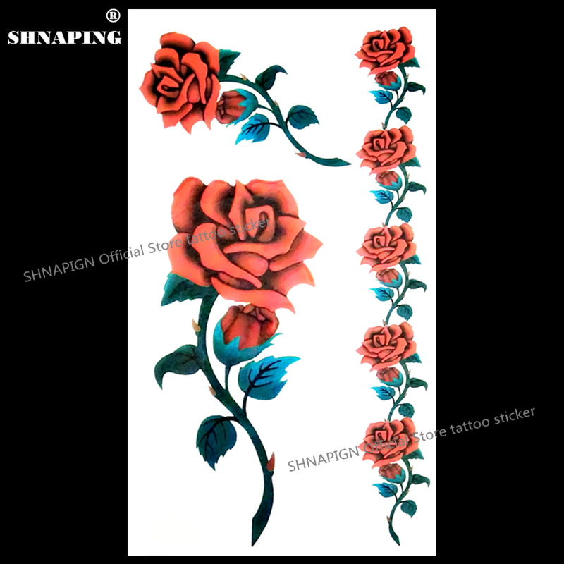 Shnasign Sexy Rosas Rojas Tatuaje Temporal Cuerpo Arte Brazo Flash