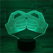 3d Visual Illusion Night Light Cool Creative Gesture Design for Halloween Holiday Gift Led Home Decoration Lamp Sign Language цена и фото
