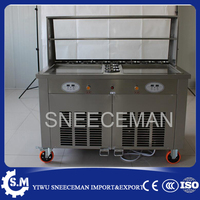 commercial fried ice cream machine make roll ice cream ice frying machine Roll Roll Ice Cream Makers with 11 buckets