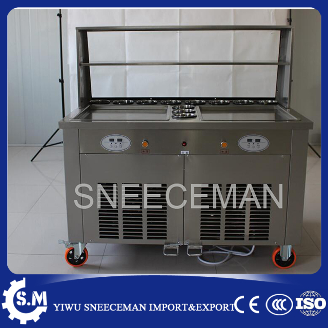 commercial fried ice cream machine make roll ice cream ice frying machine Roll Roll Ice Cream Makers with 11 buckets commercial ice frying machine manual single round pan fried ice cream machine fruit ice cream ice frying machine free shipping