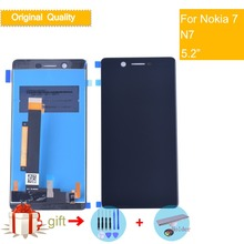 Original LCD For Nokia7 N7 Nokia 7 DIsplay Touch Screen Digitizer Assembly Complete Pantalla Display Black