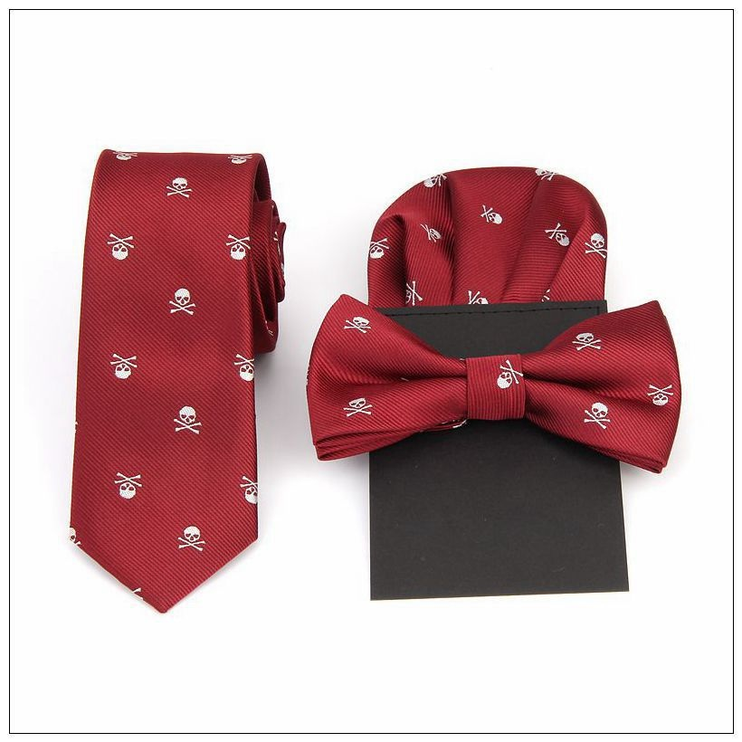 Men's Skull Slim Ties Fashion Bowtie Party Neck Tie Set Pocket Towel