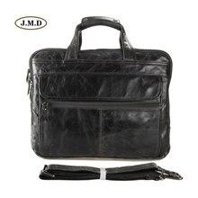 цена J.M.D 100% Genuine Cow Leather Classic Grey Men's Briefcase Handbag Messenger Bag Shoulder Bag Fit for 15.5
