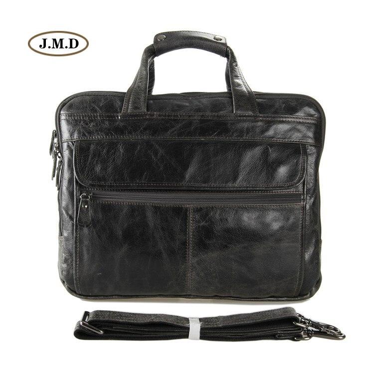 J.M.D 100% Genuine Cow Leather Classic Grey Men's Briefcase Handbag Messenger Bag Shoulder Bag Fit for 15.5″ Laptop 7146J
