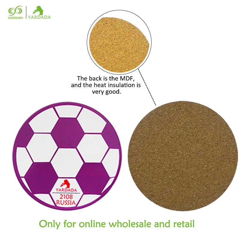 4pcs Set Wooden Kitchen Accessories Coffee Tables Placemat Bowl Dish Mat Football Shaped Round Fridge Mats In Stock For Pads From Home