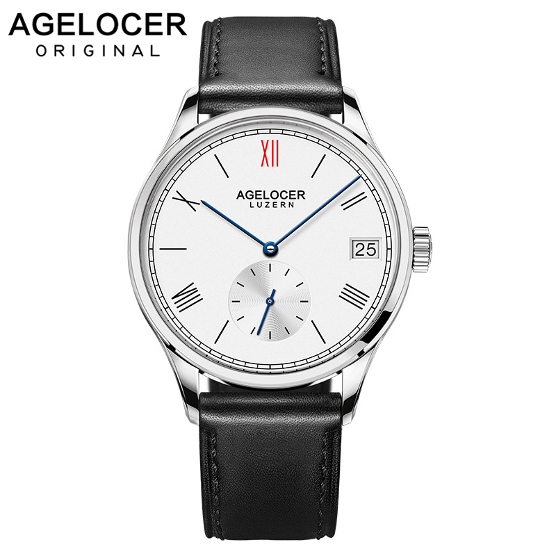 Agelocer Luxury Brand  Waterproof Stainless Steel Watch Genuine Leather Strap Watch  Mechanical Wristwatches 1101A1