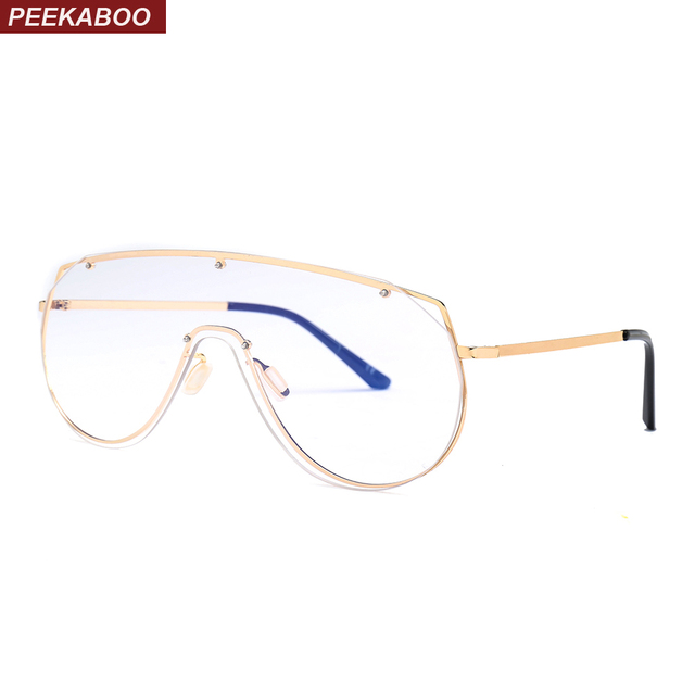 7e71fced46 Peekaboo mens vintage eyeglasses frames large gold metal frame unisex one  piece lens windproof women frame