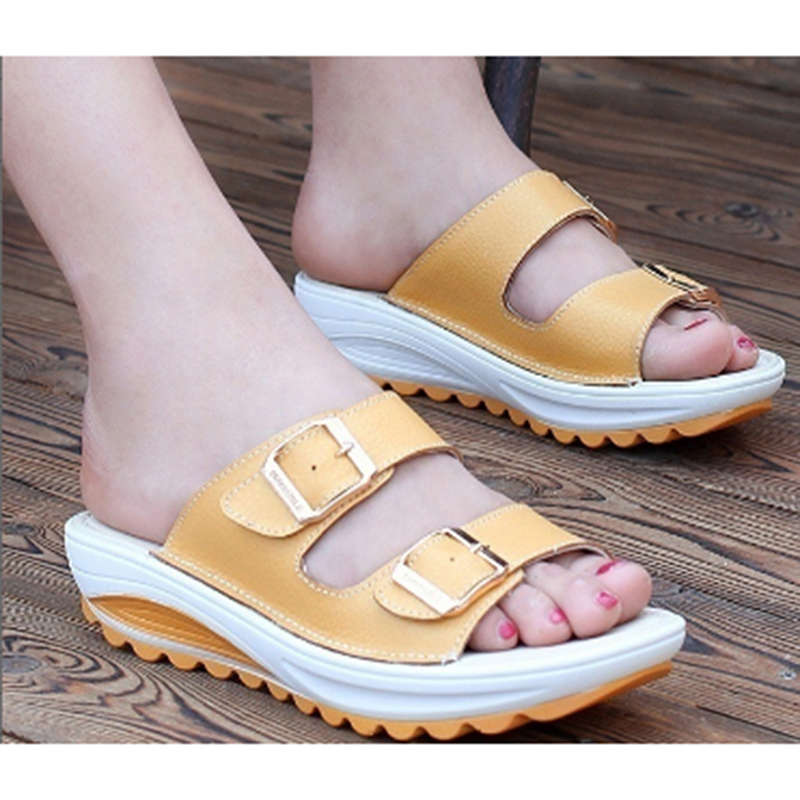 6664c7c0d25 2018 Summer women sandals wedges sandals ladies open toe round toe buckle  black yellow white platform sandals shoes OR911361