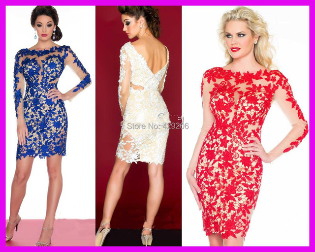 2017 Hot Sell Royal Blue Red White Beaded Lace Long Sleeves Mermaid Column Short Prom Cocktail Party Dresses Robe De Soiree