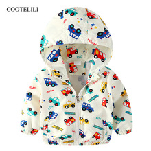COOTELILI 80-130cm Cute Car Printing Kids Boys Jacket 2019 Spring Hooded Children Clothes Active Girls Windbreakers