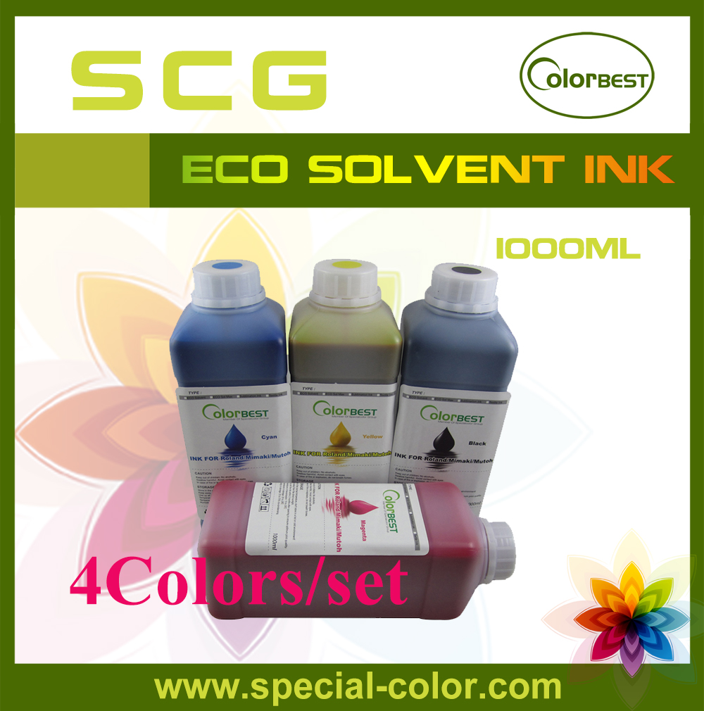4 x 1000ml Roland/Mimaki/Mutoh Eco Max Ink Bulk Ink CMYK 6colors set for dx4 dx5 sublimation ink 1000ml for roland mimaki mutoh china printer alpha infinite wit color