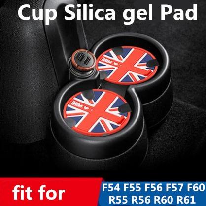 1pcs Union Jack Silica Gel Car Cup Mat Pad Coaster 60th Anniversary Stickers For BMW MINI Cooper F55 F56 F57 F60 F54 R55 R56 R60