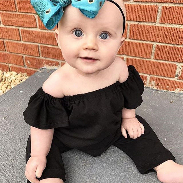 dfc67c4d4 Newborn Infant Baby Girl Off Shoulder Rompers Kids Jumpsuit Harem Pants  Clothes Overalls For Children