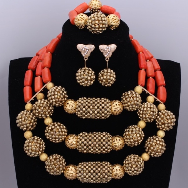 Glamorous Golden Nigerian Beads Wedding Necklace Earrings Jewelry Sets Crystal Dubai Royal Top Quality Jewelery Set