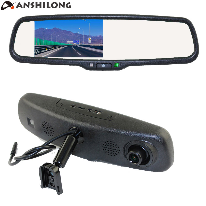 ANSHILONG Car Rear View Mirror DVR with 4.3 inch Monitor + Special OEM Bracket 720P Digital Video Recorder G sensor-in DVR/Dash Camera from Automobiles & Motorcycles    1