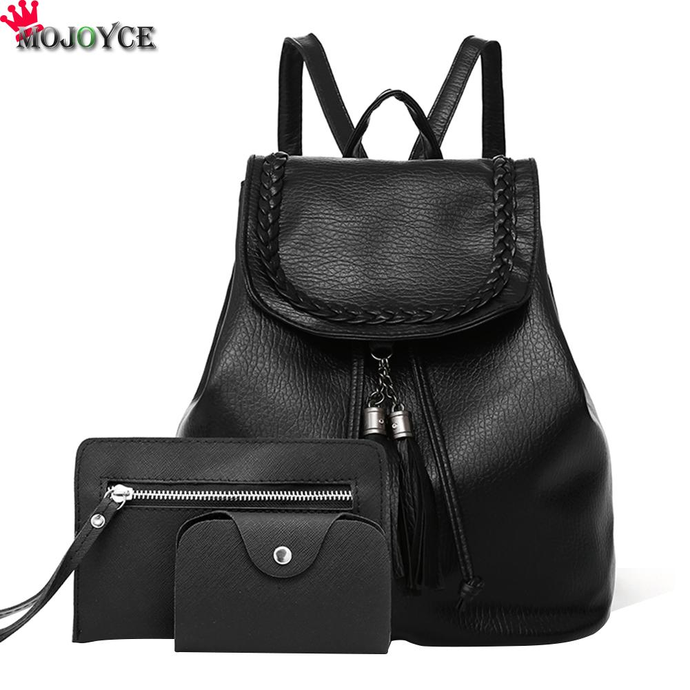 3Pcs Set Small Women Backpacks female 2017 School Bags For Teenage Girls Black PU Leather Women