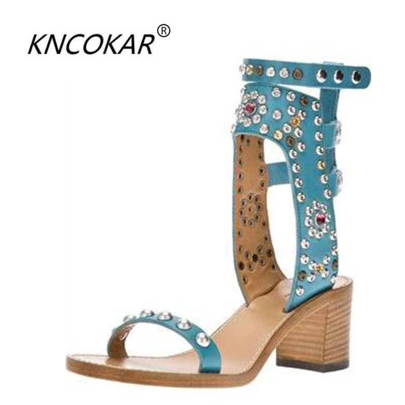Casual Street Style Gladiator Sandals Studded Rivets Open Toe Women Shoes Top Quality Buckle Strap Rome Sandals Woman rome top 10