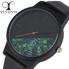 Yisuya мужские Часы тропические джунгли цветок циферблат часы мужской модные женские туфли Повседневное кожа кварц-часы подарок 2017 Relogio Masculino