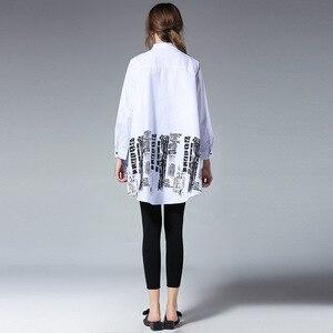 Image 5 - [EAM] blusa holgada de manga larga para primavera y otoño, camisa holgada de color liso con soporte empalmado, talla grande, S05600L, 2020