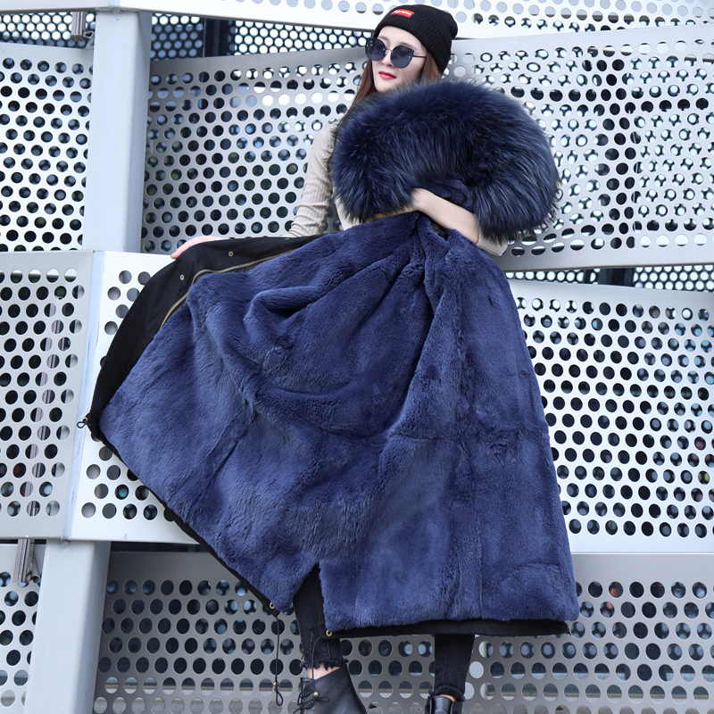 Fur Coat Parker Coat Winter Jacket Pike Large Leather Bear Fur Collar Natural Rabbit Fur Lining Long Jacket in Real Fur from Women 39 s Clothing