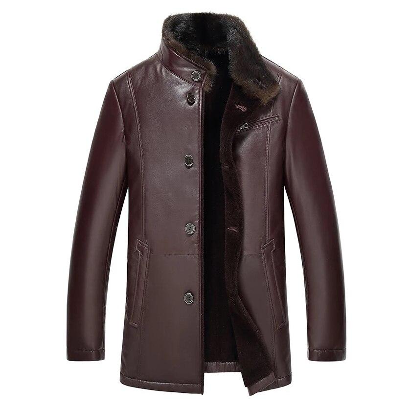 Leather suede men genuine leather jacket genuine sheepskin coat real mink fur collar thick warm jacket men New Phoenix F8851