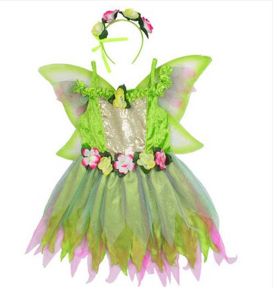 Freeship childrens luxury green tinker bell dress with wings ballet dress fairy tale dress tinker bell fairy kids girl halloween party costume dress wings set 2 8year c247