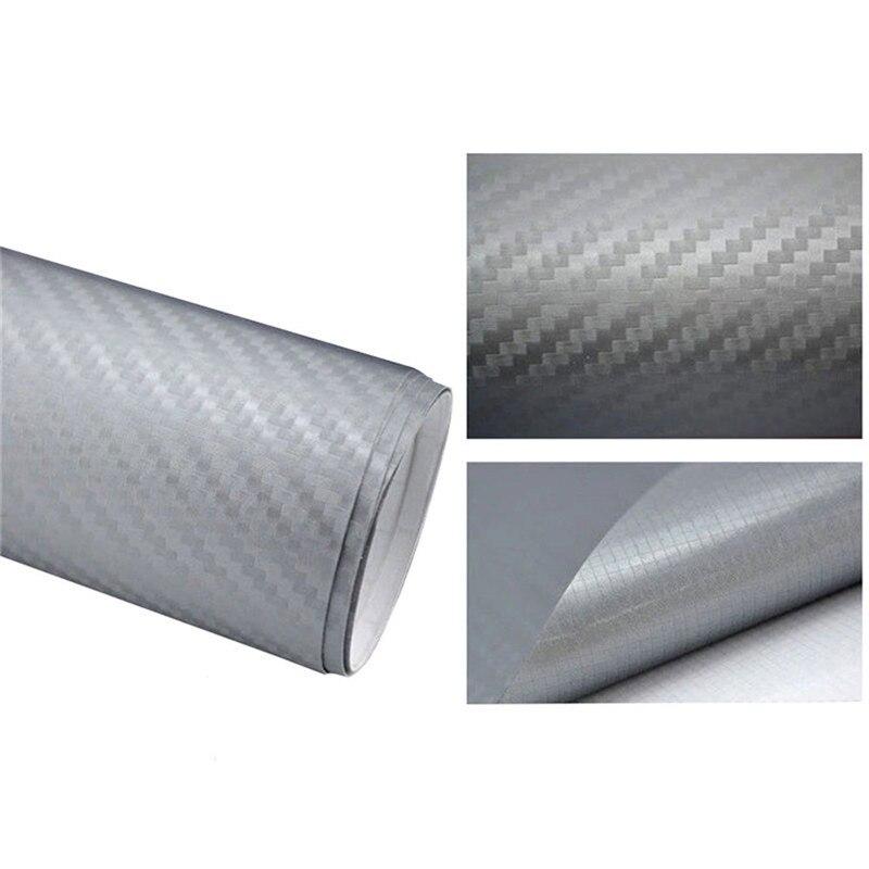 127cmx10/20 см 3D виниловая пленка из углеродного волокна для автомобиля, рулонная пленка, наклейка на машину, мотоцикл, наклейки для автомобиля, аксессуары для интерьера - Color Name: Silver