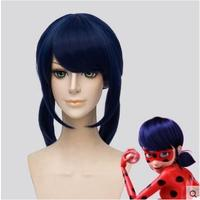 Miraculous Ladybug Marinette Ladybug Cosplay Wigs Blue Twin Tail Bunches Hair Wig