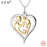 Necklace 925 Sterling Silver Gold Color Mother Baby Holding Hands Heart Love Pendants Necklaces Women Fashion Jewelry GNX10483