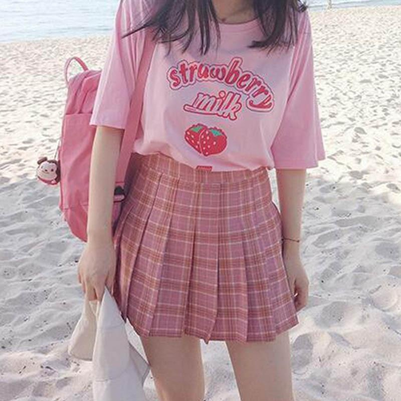 Hahayule Pink Girl Series Strawberry Milk Graphic Summer Fashion 100% Cotton Casual Tops Korean Style Girl Funny  Short Sleeves