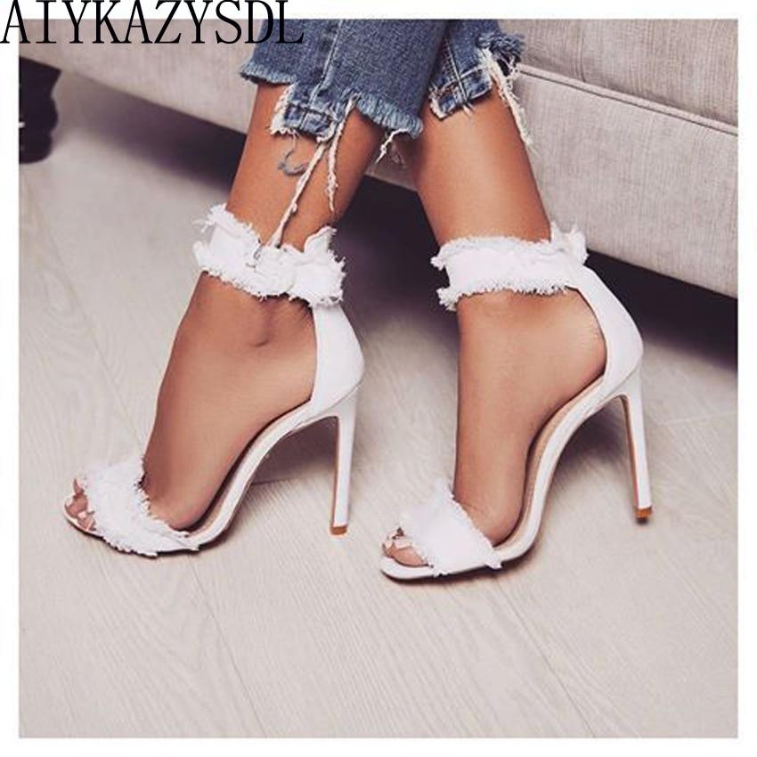 AIYKAZYSDL Sexy Women Sandals 2018 Pumps White High Heels Denim Shoes Woman Open Toe Thin Heels Frayed Tassel sandalias Sapatos embroidered frayed hem denim shorts
