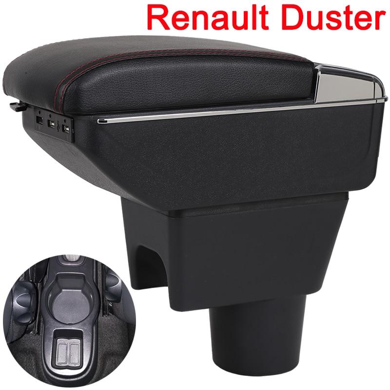 Para Renault Duster 2 caja de reposabrazos universal de la consola del centro del coche accesorios de modificación caja doble elevado con USB