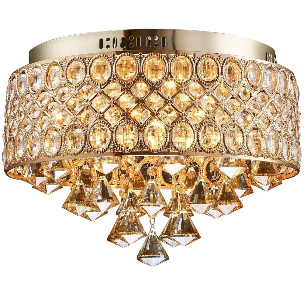 Industrious Flush Mount Gold Led Ceiling Lamp Led Crystal Lights E14 Bulb Ceiling Light Indoor Lighting Kitchen Dia 40cm 110~220v Zxd0026 Lights & Lighting Ceiling Lights