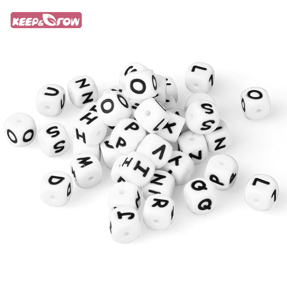 Keep&Grow 10Pcs Silicone Letter Beads BPA Free Baby Teethers Food Grade English Alphabet Baby Teething Beads For Necklace Making