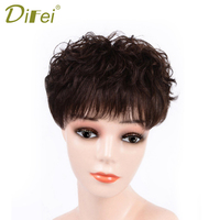 DIFEI Women Short Black Brown Synthetic Wigs Head Replacement Block Closure Hand made Topper Head Top Hair Extension