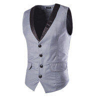 Men Business Dress Suit Vest Men Clothing Black Gray Tuxedo Vests Party Wedding Clothing Vests Men