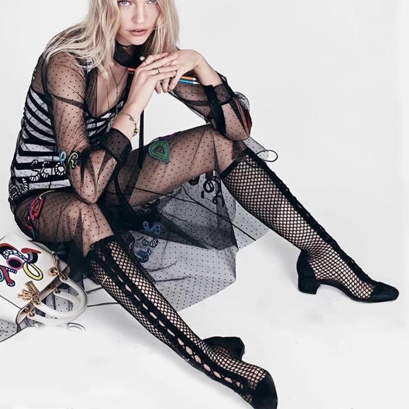 Doratasia 브랜드 디자인 키즈 스웨이드 양모 패션 여름 부츠 여성 신발 트렌디 스퀘어 발 뒤꿈치 캐주얼 신발 여성-에서무릎 - 하이 부츠부터 신발 의  그룹 1